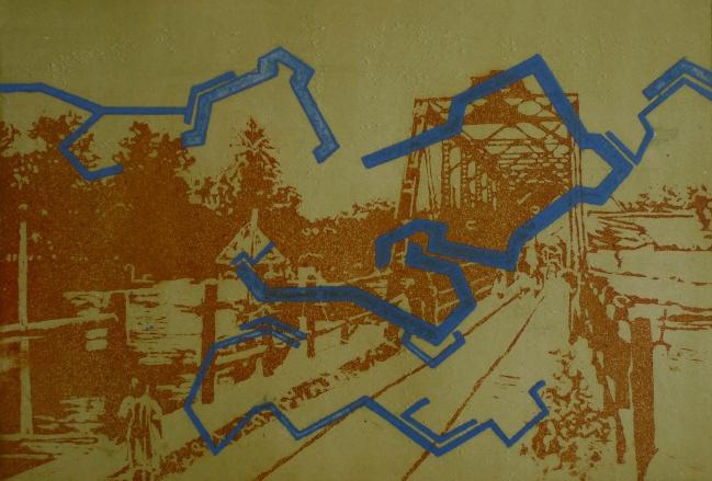 Paisaje con estructura azul