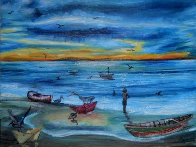 Ocaso en el mar