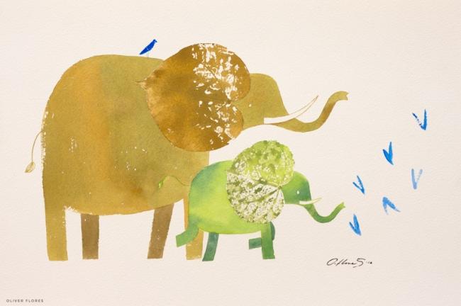 Elefantes (padre e hijo). - Oliver Flores