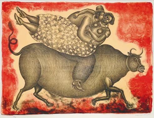 Pareja sobre un toro de lidia - Maximino Javier
