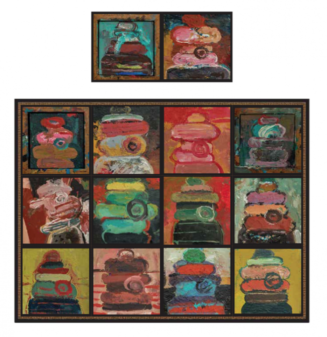 Cabezas olmecas (mosaico 12+2)