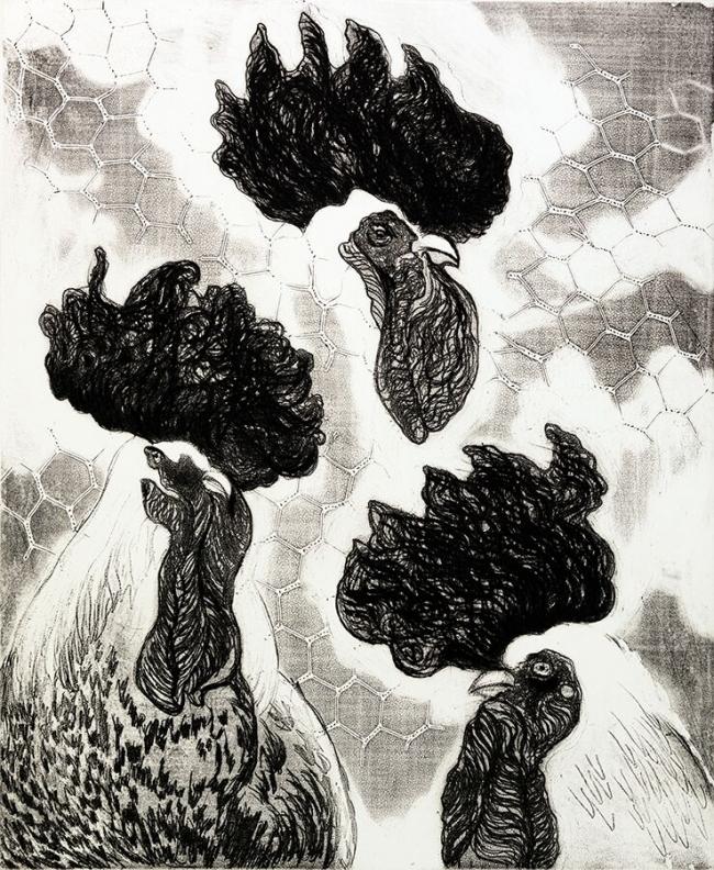 Pablo Serna- Tres gallos - Varios Artistas En La Gráfica