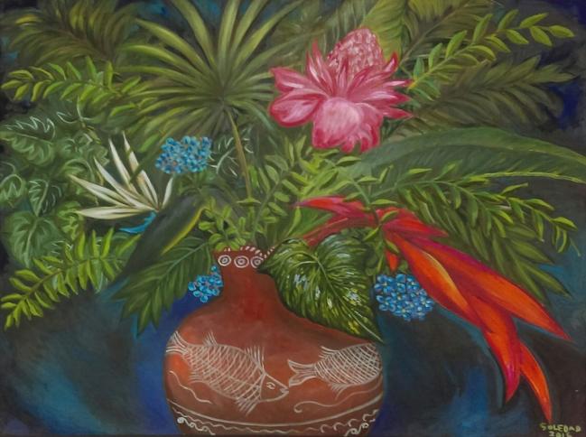 Flores exóticas con olla de Tzintzunzan