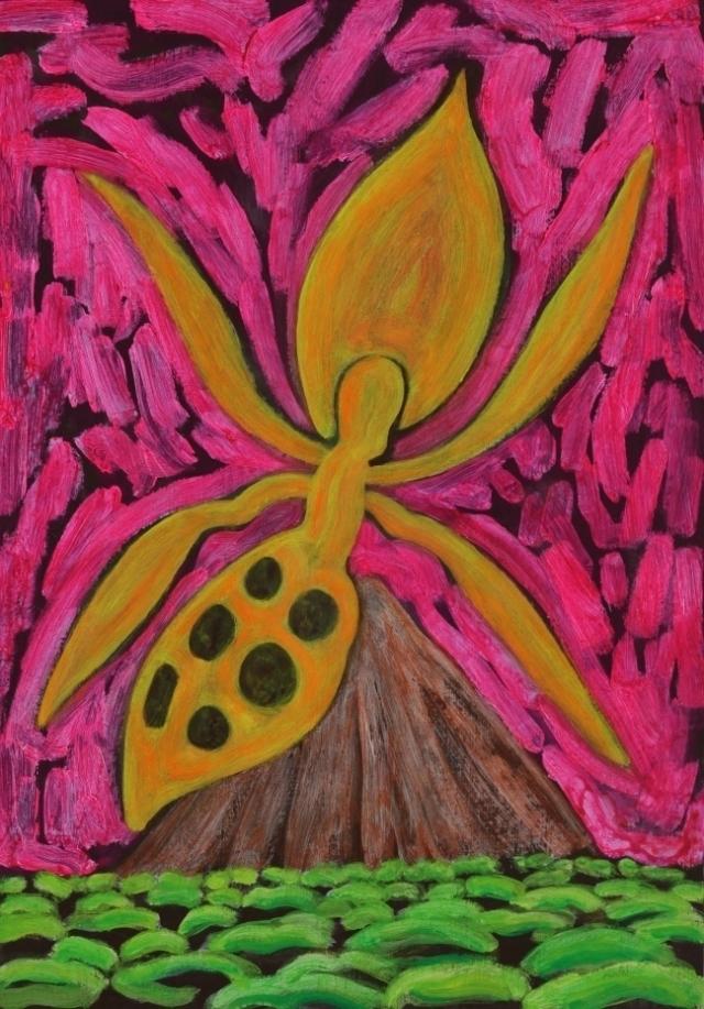 La orquidea naranja del cono