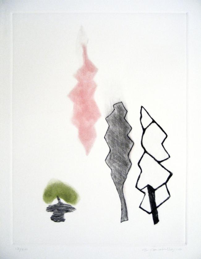 Hoja rosa y negra bolita verde - Gilda Castillo