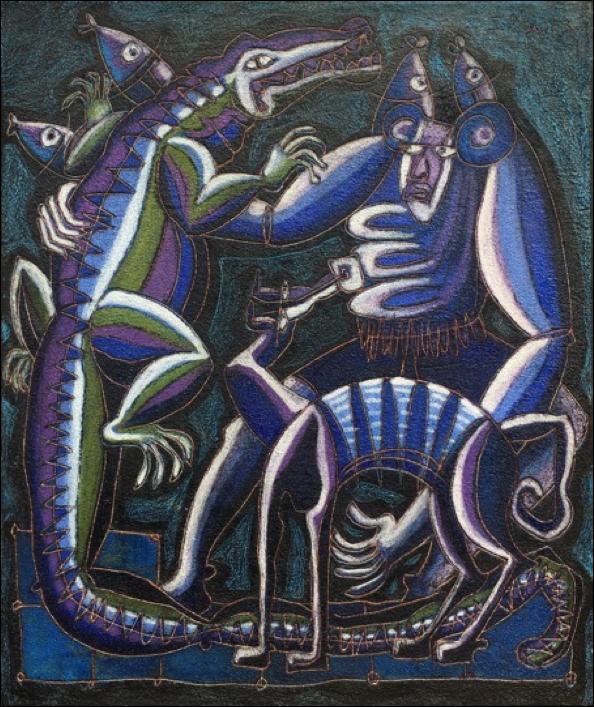 Nocturno de la serie juego con lagarto
