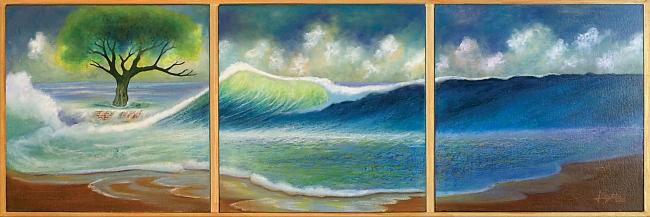 Fugas de nubes en el horizonte marino