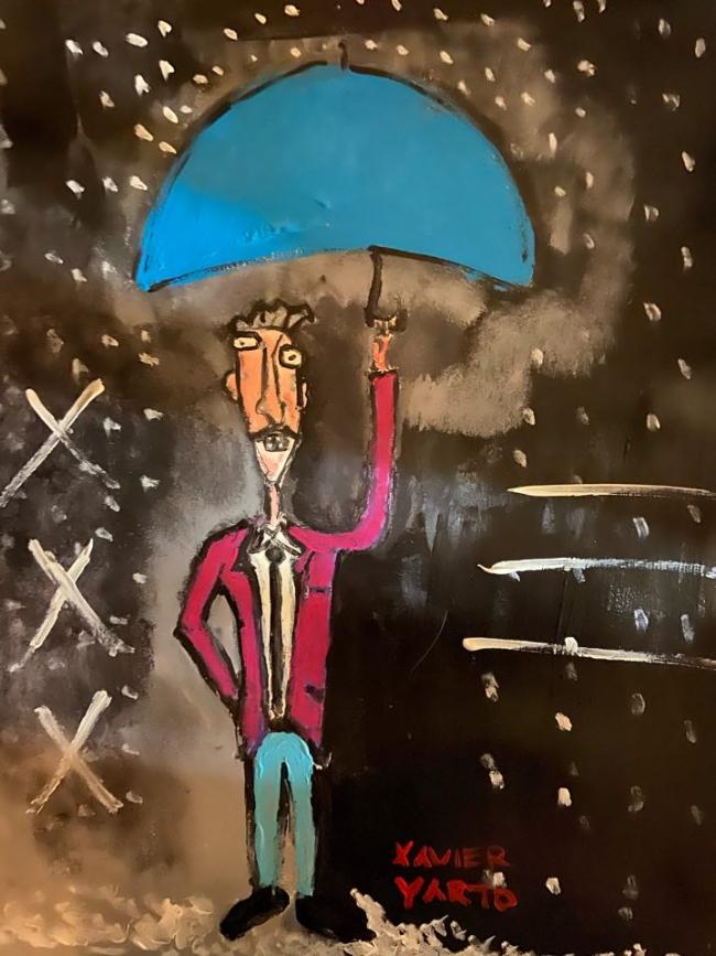 De paseo en una noche lluviosa
