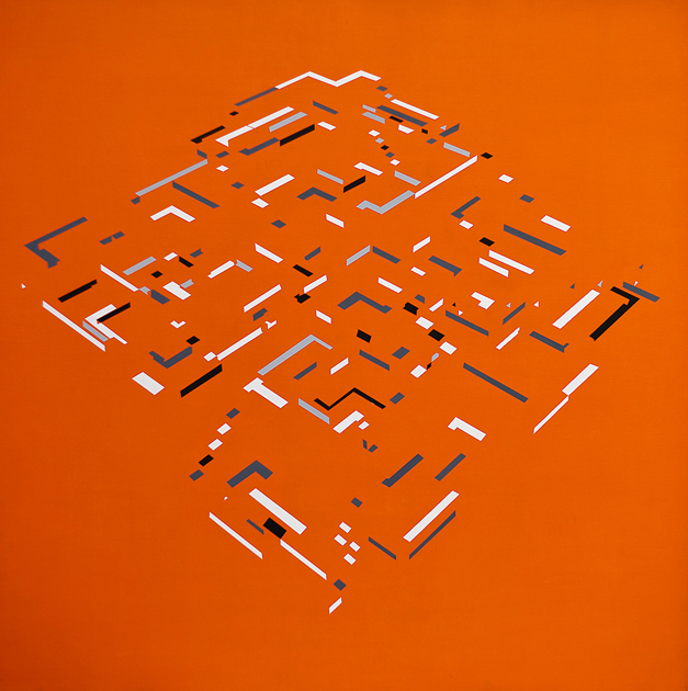 Pirámide laberíntica con atardecer - Ernesto Ríos