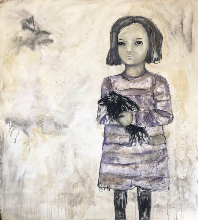 Cuervo niña grande