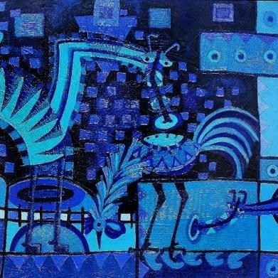 Perro azul con gallo