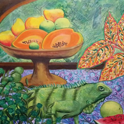 Bodegón con iguana