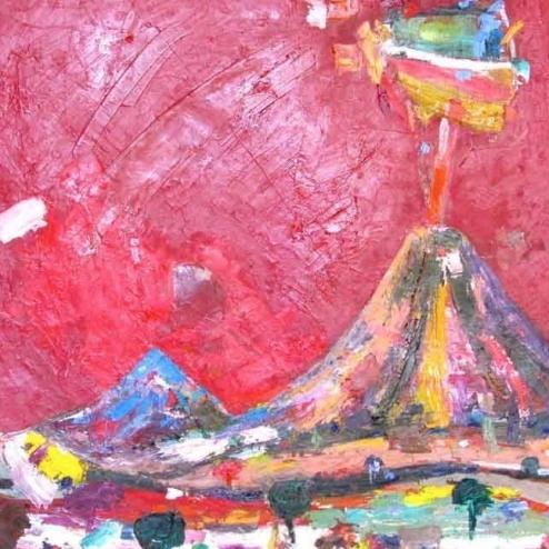 Volcán con cielo rojo