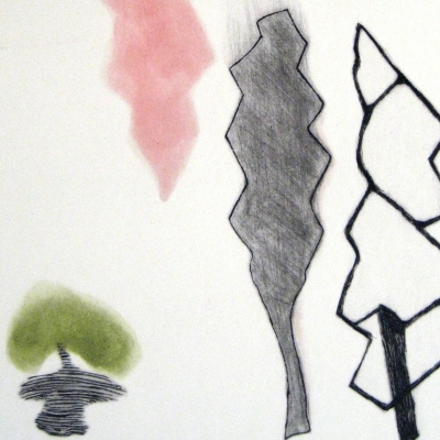 Hoja rosa y negra bolita verde