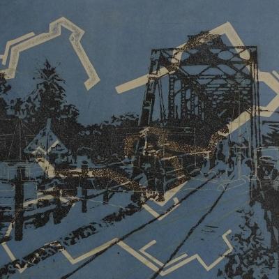 Puente nocturno con alameda