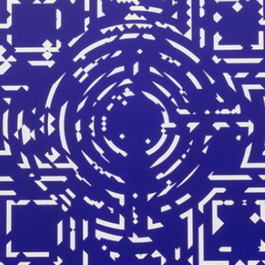 Meditación en espiral azul