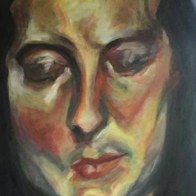 Mujer con ojos cerrados