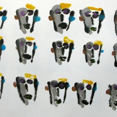 Quince autorretratos 5 caras amarilla