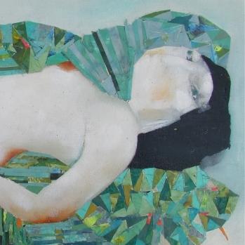 Desnudo con cojines verdes