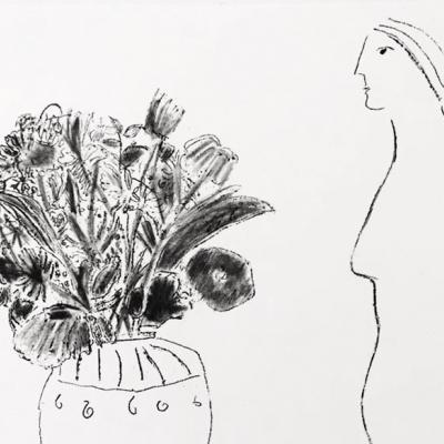 Perfil de mujer con florero I 19/40