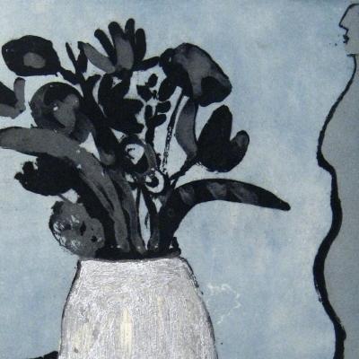 Perfil de mujer con florero azul AGOTADA